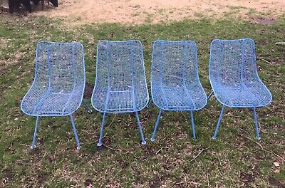 1950's Russell Woodard Sculptura Armchairs Chairs Table Patio Set Mid Century