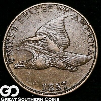 1857 Flying Eagle Cent, Choice XF Early Copper