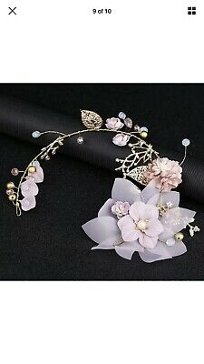 Bridal Wedding Bridesmaid Antique Vintage Hair Vine Gold Leaf Crystal Bead Twigs