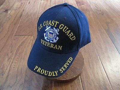 United States Coast Guard Veteran Hat Ball Cap Uscg Proudly Served