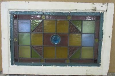 "VICTORIAN ENGLISH LEADED STAINED GLASS WINDOW Colorful Victorian 23.25"" x 15.5"""