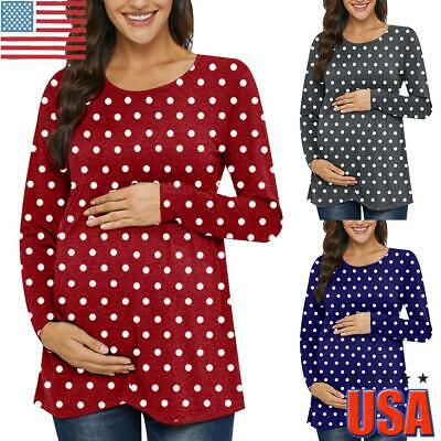 Women Solid Round Neckline Short Sleeve Maternity Top Summer Casual Blouse Shirt