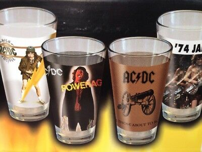 ACDC Pub Pint Glasses Set Of 4 New AC DC