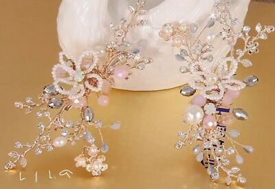 2 PIECE BRIDAL BRIDESMAID FLOWER RHINESTONE Clips GOLD LEAF BEADED HAIRVINE Clip