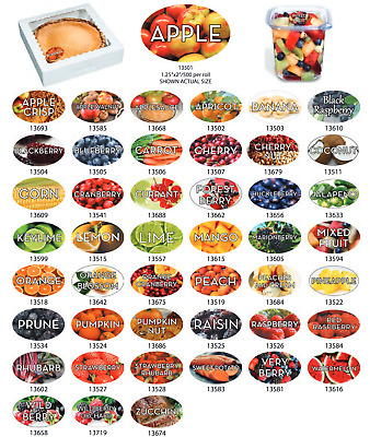 "Food Flavor Labels 1.25"" x 2"" 500 labels per roll Stickers- Large Variety to Buy"