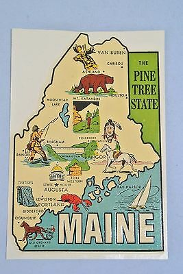 Vintage Original 1950's Maine Souvenir Travel Water Decal ~ Mint Condition