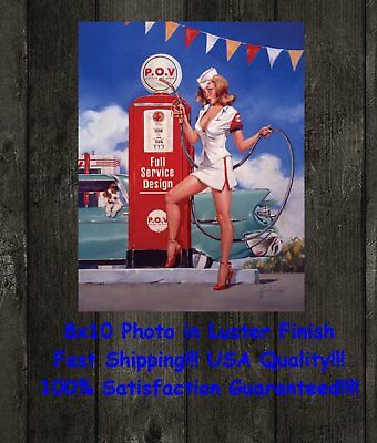 Vintage Look Pinup Girl Man Cave DECOR SIGN 8X10 Photo Picture Garland POV gas