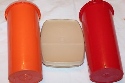 Tupperware Tall Round Water Containers Divided Square Snack Lunch Box  6-pc Set