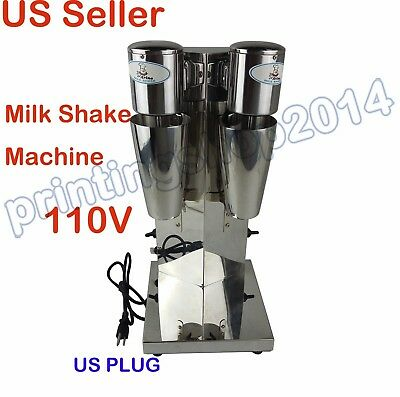 110V COMMERCIL Double Head Milk Shake Mixer Machine Stainless Steel+2CUP US PLUG