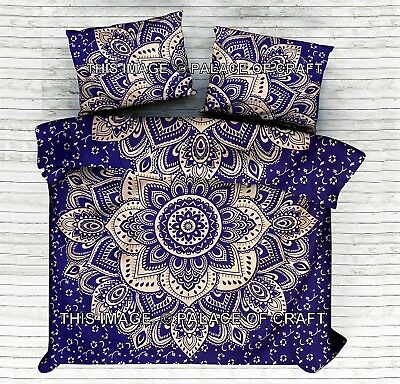 Indian Ombre Mandala Printed King Duvet Doona Cover Cotton Blanket Comforter Set