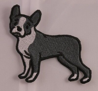 Embroidered Boston Terrier Puppy Dog Breed Patch Jacket Applique Iron On Sew USA