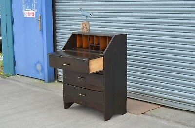 Solid Oak Bureau Writing Desk With Drawers.