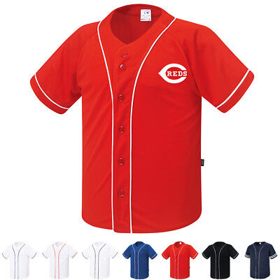 New Cincinnati Reds Button Jersey Baseball Team Raglan T-Shirts Sports Tee 0099