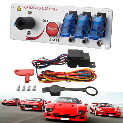 Racing Car 12V Ignition Switch Panel Engine Start Push Button Blue LED 3 Toggle