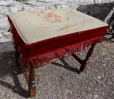 Antique Victorian tapestry upholstered STOOL seat piano oak frame