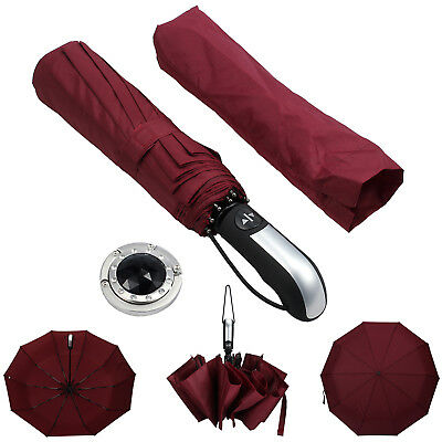 Red Auto Fold Portable Umbrella Compact With 10 Fiberglass Windproof  Men Women