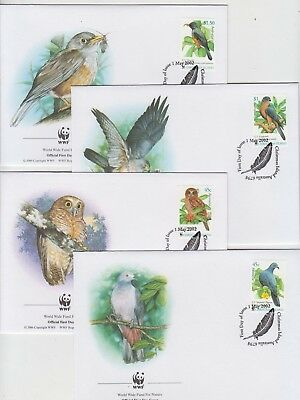 Stamps 2002 Christmas Island Australia Birds set on 4 WWF FDCs first day issue