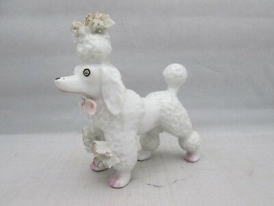 White Poodle with Spaghetti Porcelain on head and legs JAPAN