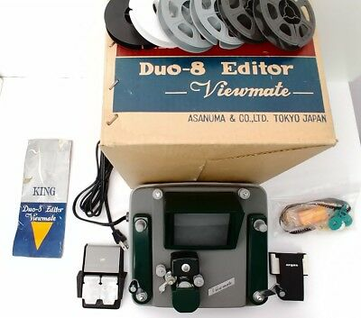 KING DUO-8 EDITOR cine movie Standard 8mm Super-8 VIEWMATE Boxed +Splicer + More