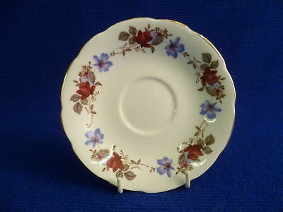 SUTHERLAND BLUE AND RED FLORAL 14cm SAUCER