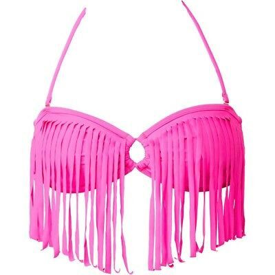 NWT ROXY SWIM Surf Essentials Fringe Bandeau Bikini Top S - Small- TROPICAL PINK