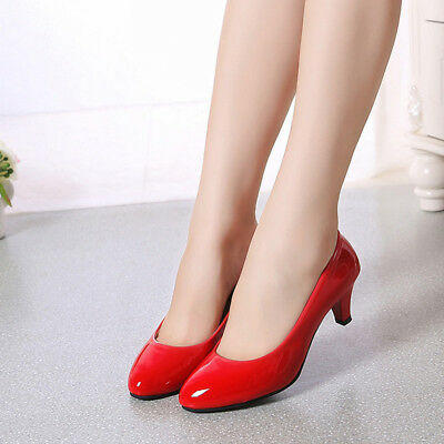 Womens Ladies Low Mid High Heel Work Casual Court Shoes Pumps  6A