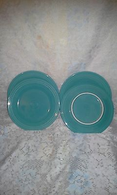 "4 DINNER PLATES set lot turquoise blue HOMER LAUGHLIN FIESTA WARE 10.5"" NEW"