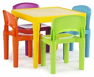 Kids Plastic Table and 4 Chairs Set, Vibrant Colors New