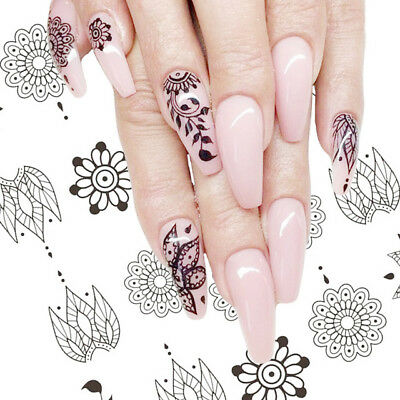 Nail Art Water Decals Stickers Transfers BLACK Flowers Jewels Lace Floral (647)