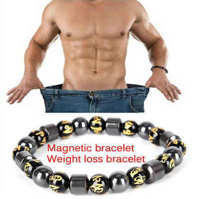 Magnetic Therapy Bracelet Beads Hematite Stone Health Care Weight Loss JewelryL3