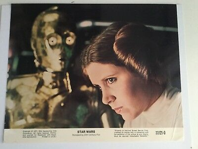 Star Wars Original Leia and C3PO rare numbered lobby card 1977