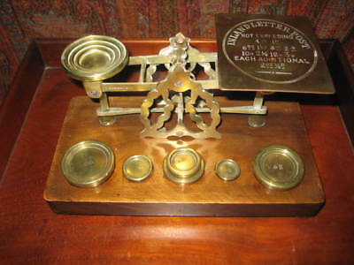 Antique Brass & Mahogany Or Oak Postal Scales 6 Weights Sampson Mordan & Co.