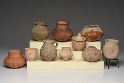Collection of 10 Ancient Holy Land Pottery Vessels c.1000 BC-100 AD
