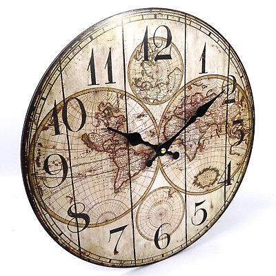 World Travel Map Wall Clock, Vintage Style, Large, 34cm, Old Rustic Look, AA