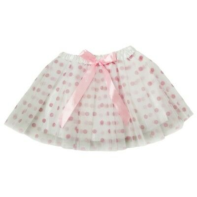 Little Girls White Pink Polka Dots Satin Elastic Waist Ballet Tutu Skirt 2-8Y