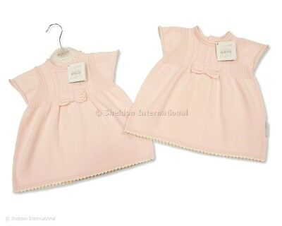 539e90006 Baby girl dress Spanish Style Knitted bow Pink Newborn 0-3months 3-6 months