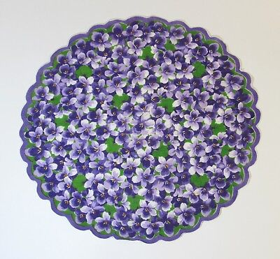 Vintage Handkerchief Round Violet W/ Scalloped Edges Lovely