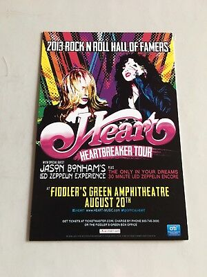 Heart Jason Bonham Led Zeppelin Experience 2013 Concert Tour Flyer Ticket stub