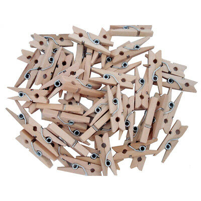 100 pcs/set 25mm mini Wooden clip natural craft pin line photo baby Y2J5