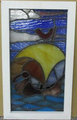 "MID SIZED OLD ENGLISH LEADED STAINED GLASS WINDOW Fancy Ship Scene 14.75"" x 25"""