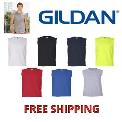Gildan Mens Tank Top 2700 Ultra Cotton Muscle Sleeveless Tee T-Shirt S-Xxl New