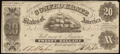 1861 $20 Dollar Bill Confederate States Currency Civil War Ship Note T-9 Vf-Ef