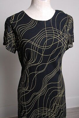 vintage Benjamin A. 40s-50s rayon dress, black w neon yellow lines, made in USA