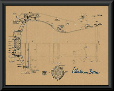 Wernher von Braun Autograph Reprint Diagram of V2 Rocket On 1940's Paper P050