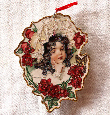 Glittered Wooden Ornament~Victorian Girl w/ Roses~Vintage Card Image