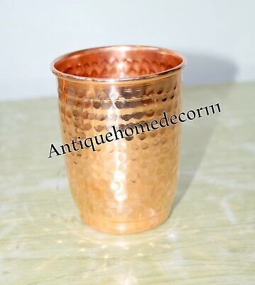 Handmade Pure Copper Hammered Drinking Glass Ayurveda Health Christmas Gift GN