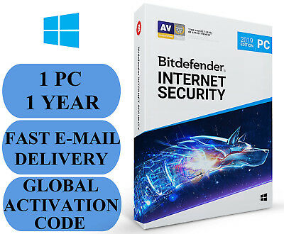 Bitdefender Internet Security 1 PC 1 YEAR + FREE VPN GLOBAL CODE 2019