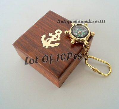 Antique Compass Nautical Solid Brass Keyring, With Key Chain Lot Of 10 Pcs Gift