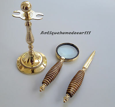 Vintage Desk Set Letter Magnifying Glass/Opener W/Brass Stand Mother Of Pearl...