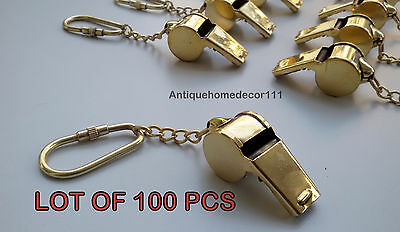 Reproduction Solid Brass Scout Whistle Key Chian Nautical Lot Of 100 Pcs Gift ..